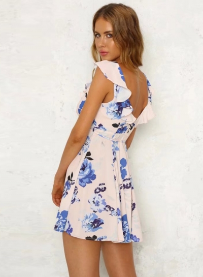 Floral V Neck Sleeveless Backless Mini Dress