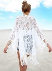 Fashion Lace Bikini Cover up with Tassel
