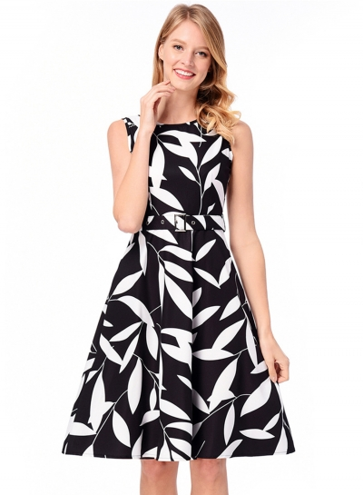 Vintage Sleeveless Leaf Printed A-line Dress