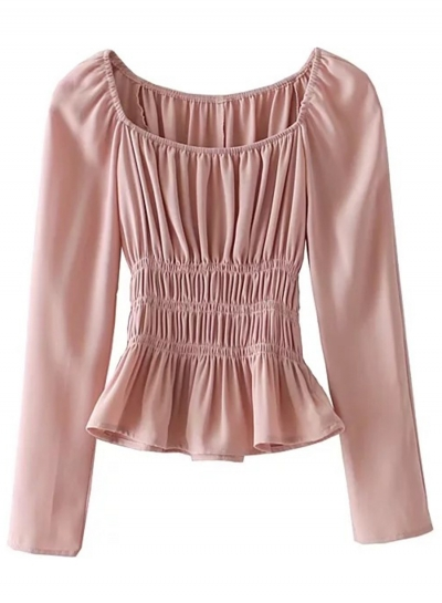 Fashion Long Sleeve Elastic Waist Ruched Blouse