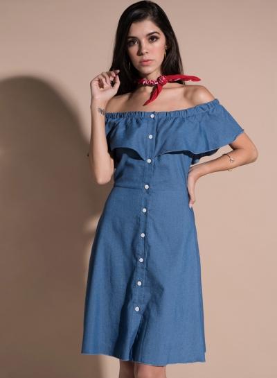 Off Shoulder Ruffle Denim Dress