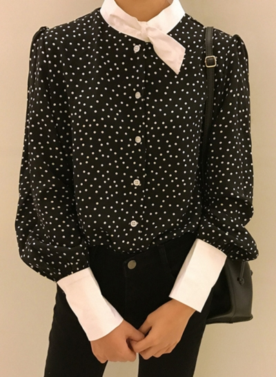 Casual Long Sleeve Polka Dots Button down Shirt