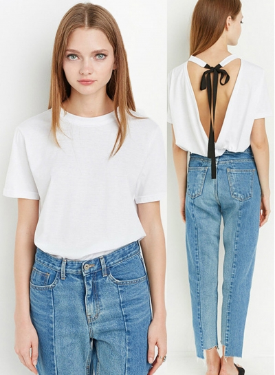 Casual Short Sleeve Backless Tee