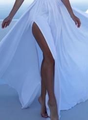 Spaghetti Strap Sleeveless High Slit Maxi Evening Dress