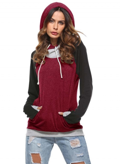 Fashion Long Sleeve Color Block Pullover Hoodie stylesimo.com