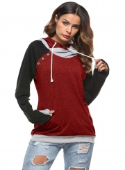 Fashion Long Sleeve Color Block Pullover Hoodie