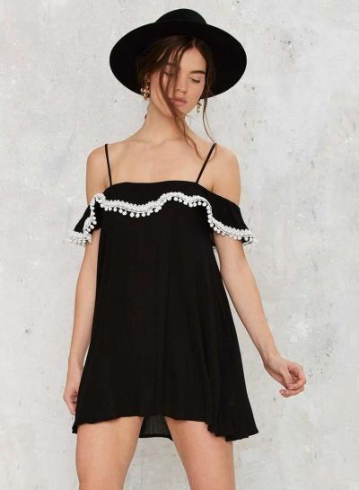 Spaghetti Strap Ruffle Loose Fit Mini Dress
