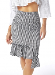 Plaid Flounce Irregular Skirt