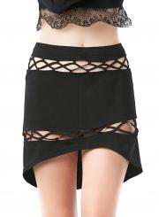 Cross Strap High Low Skirt