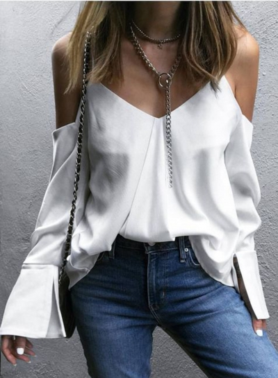 V Neck Off Shoulder Back Slit Blouse