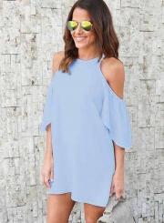 Fashion Off Shoulder Short Sleeve Loose Fit Dress