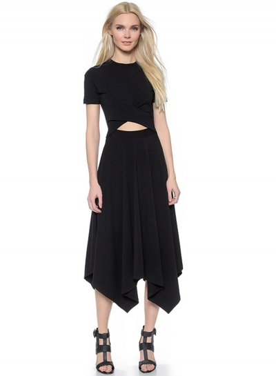 Short Sleeve Irregular Midi Dress