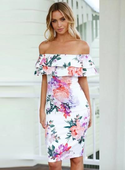 Fashion Slash Neck Floral Printed Ruffle Dress