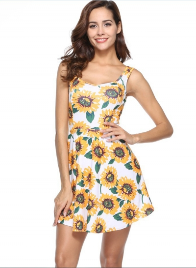 Fashion Sleeveless Floral Printed Dress
