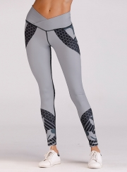 Fashion Color Block Elastic Yoga Leggings