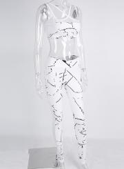 Women's Fashion Mesh Paneled Printed Yoga Sports Set Sportswear