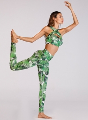 Fashion Cross Front Strap 2 Piece Skinny Yoga Sports Set