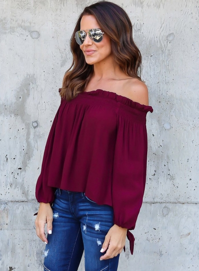 Fashion Off Shoulder Long Sleeve Chiffon Blouse