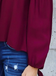Fashion Off Shoulder Long Sleeve Chiffon Blouse