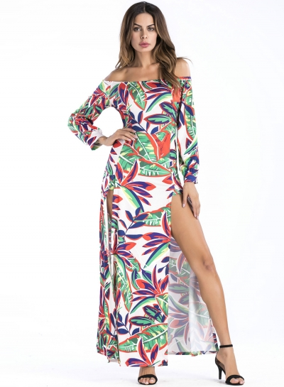 Off Shoulder Leaf Printed Slit Maxi Dress