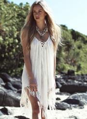 Fashion Straghetti Strap Tassel Bikini Cover-up Dress
