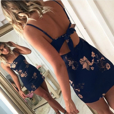 Spaghetti Strap Patchwork Backless Mini Dress