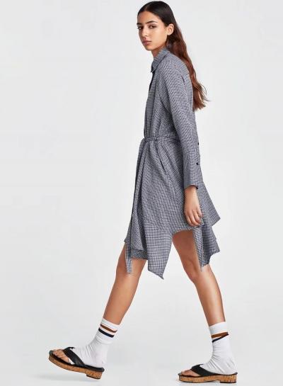 Fsahion Turn-Down Collar Long Sleeve Irregular Dress