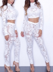 Fashion Lace Two Pieces Slim Matching Set