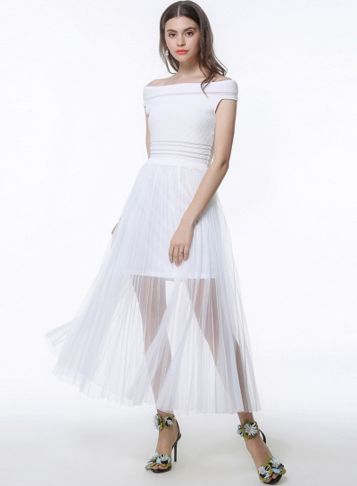 Fashion Off Shoulder Sleeveless Ankle Length Dress