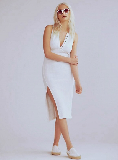 Fashion V Neck Sleeveless Slit Slim Dress