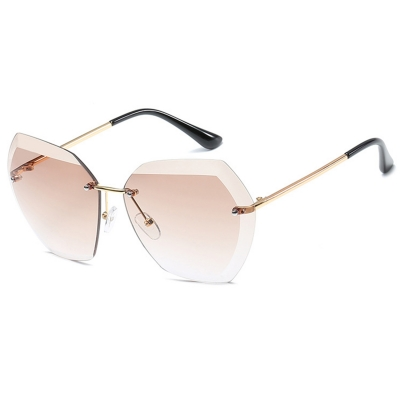 Fashion Large Metal Frame Rimless Sunglasses