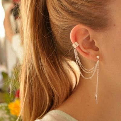 Tassels Chain Decoration Leaf Shape Earrings