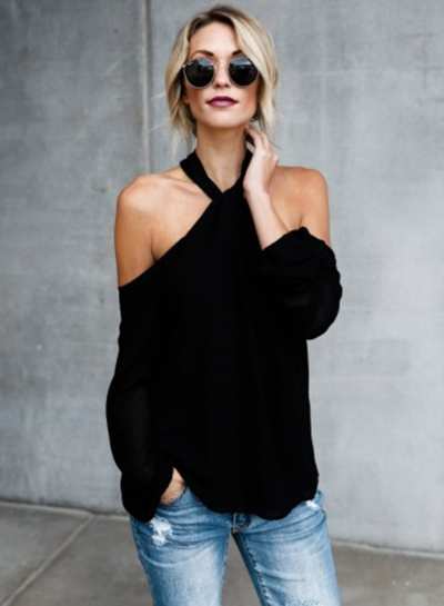 Halter Off Shoulder Long Sleeve Loose Blouse