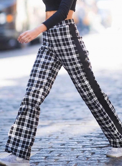 Casual High Waist Plaid Straight Pants