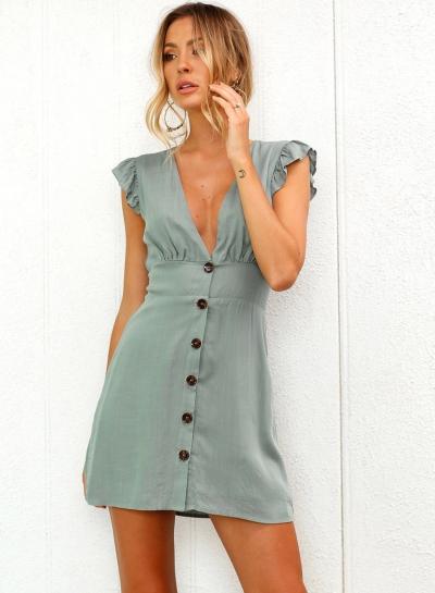 Feshion V Neck Buttons Flounce Sleeve Dress