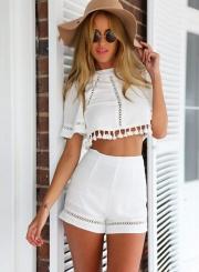 Fashion Crop Top Tassel Trim Shorts Matching Set