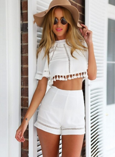 Fashion Crop Top Tassel Trim Shorts Matching Set