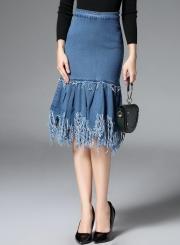 High Waist Fringe Tassel Mermaid Denim Skirt