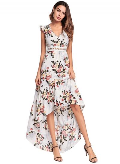V Neck Backless Irregular Floral Printed Dress