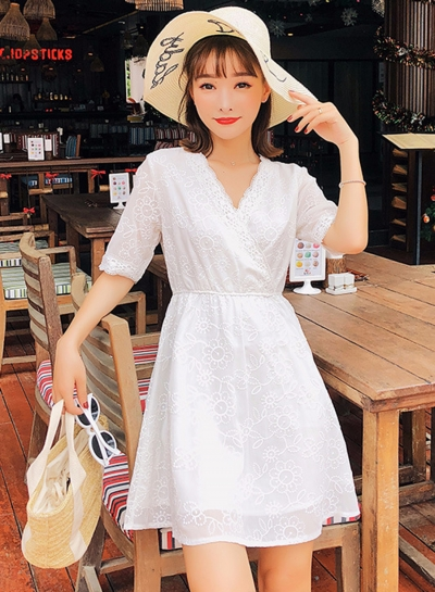 Fashion V Neck Embroidery Half Sleeve Dress