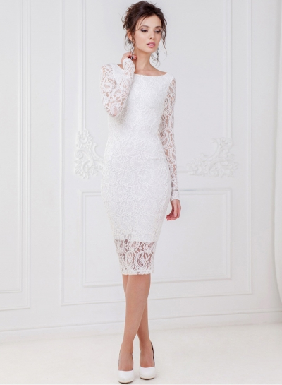 White Dress Fashion Long Sleeve Lace Slim Party Dress