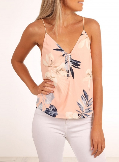 Fashion V Neck Spaghetti Strap Floral Printed Tank Top
