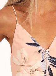 Fashion V Neck Spaghetti Strap Floral Printed Tank Top
