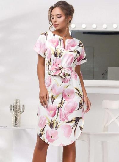 Fashion V Neck Floral Printed Irregular Dress With Belt