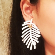 Casual Fashion Feather Leaves Metal Ball Earrings