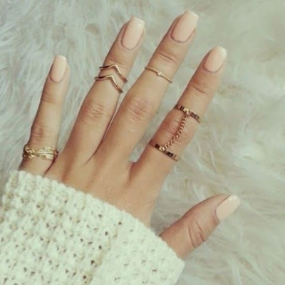 Fashion Casual 6 Pieces Alloy Leaf Circle Round Finger Rings Multiple Sets Of Rings STYLESIMO.com
