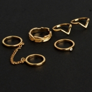 Fashion Casual 6 Pieces Alloy Leaf Circle Round Finger Rings Multiple Sets Of Rings