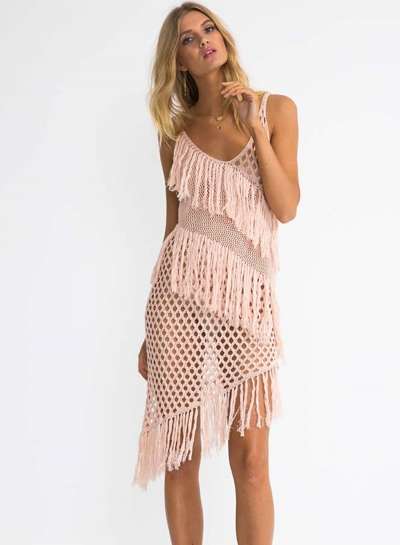 Tassel Cut out Irregular Bikini Cover-ups