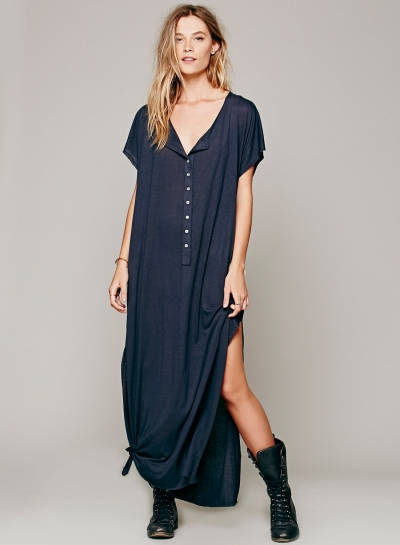 V Neck Buttons High Slit Loose Dress