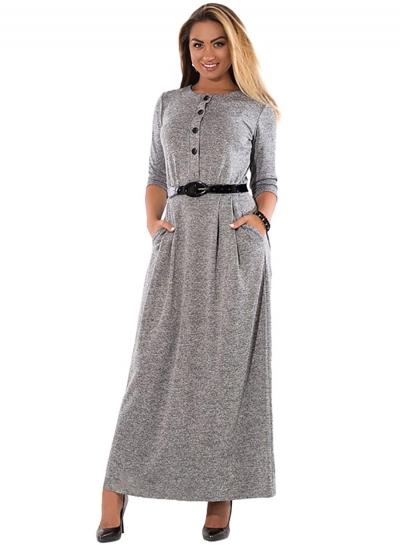 Long Sleeve High Waist Plus Size Maxi Dress With Belt